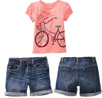 Wholesale Fashion Children Clothing For Summer Cute Pink Bicycle T Shirt Denim Shorts Pants Girls Set Year Baby Kids Suit QZ44