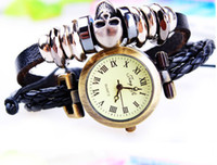 Wholesale New Fashion men women leather watches unisex punk skull quartz multilayer wristwatches watch bracelets wristband cuff charm jewelry