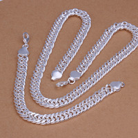 Wholesale lowest price Christmas gift Sterling Silver Fashion mm Necklace Earrings set QS142
