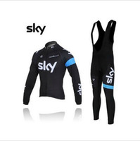 Wholesale 2013 sky Fleece cycling jersey long sleeve Cycling wear bib Pants Set sky winter thermal fleece cycling clothing
