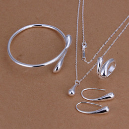 Wholesale - lowest price Christmas gift 925 Sterling Silver Fashion Necklace+Earrings set QS154