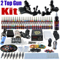 2 Guns Beginner Kit VS-TK1-91 Complete Tattoo Kit 2 Pro Rotary Machine Guns 54 Inks Power Supply Needle Grips TK255
