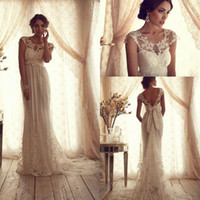 Wholesale Sexy Lace A line Bridal Gowns Sheer Lace Crew Neck Backless Empire Summer Beach Vintage Wedding Dresses with Appliques Sash Bow BO2222