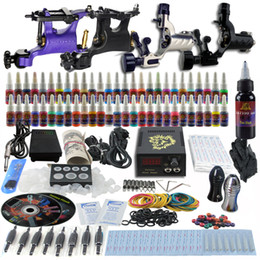 Wholesale Complete Tattoo Kit Pro Rotary Machine Guns Inks Power Supply Needle Grips TK452