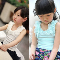 Wholesale summer new children s clothing girls lace flower T shirt halter top vest Free Singlet Fashion Hollow Shoulder strap vest Sleeveless