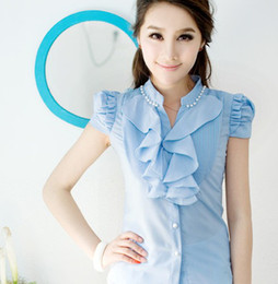 Wholesale The new summer female shirt chiffon shirt Korea chiffon shirt