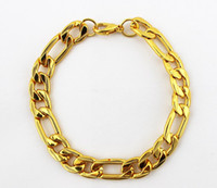 Wholesale 2013 New Arrival MM Fashion Bracelet For Men European Style Chunky K Gold Plated Chain Bracelet B075