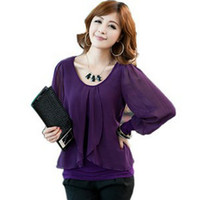 Wholesale 2013 new fashion Korean ladies blouses chiffon cotton long sleeved lotus plus size upper garments round neck loose COLORS M XXXXL XB