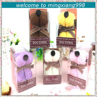 Wholesale New Lovely puppy Dog Towel Cotton Cake Cartoon Towels Wedding Party Favor Baby Bath Shower Gifts