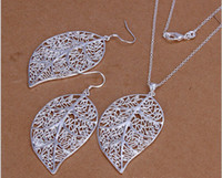 Wholesale Fashion Jewelry sterling silver charming leaf heart necklace amp earring jewelry set