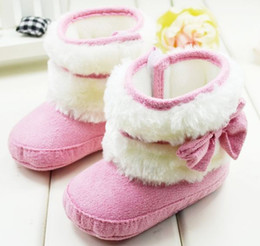 Wholesale 0 M Toddler Baby Girls Snow Boots Cute Pink Colour Infant First Walker Shoes Soft Bottom Shoes pair QZ48