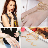 Wholesale 2PCS Women Gold Chain Link Ring Bracelet Bangle with Attached Ring Slave Chain Rings Fashion Jewelry JB06036