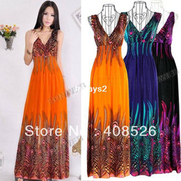 Wholesale 2013 Casual New Women s Bohemian Peacock Tail Hawaiian V neck Long Beach Dress Sundress Summer