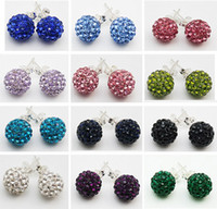 Wholesale Fashion Shamballa Earrings Silver MM MM Women s Disco Ball Crystal Rhinestone Beads Stud Earrings