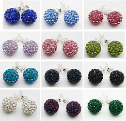 Fashion Shamballa Earrings 925 Silver 10MM 8MM Women's Disco Ball Crystal Rhinestone Beads Stud Earrings