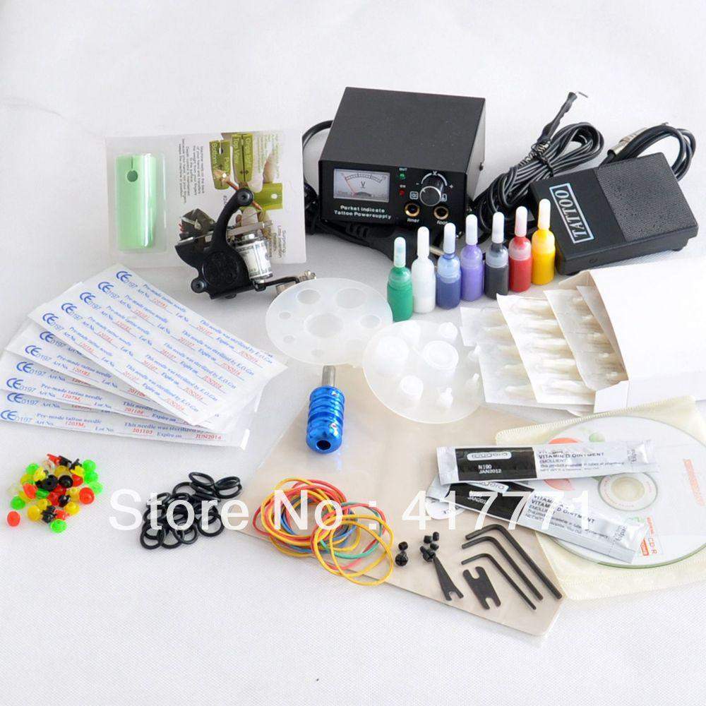 Complete starter beginner tattoo kit machine gun color ink for Best tattoo starter kit