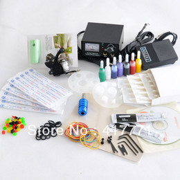 Wholesale Complete Starter Beginner Tattoo Kit Machine Gun Color Ink Power Supply Needles Set