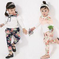 Girl baby tracksuit - Korean Baby Girls Suit Floral Lace Long Sleeve T Shirt Harem Pants Children Tracksuit Kids Casual Sport Set set QZ53