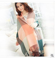 Wholesale Han edition autumn winter super long paragraph wool grid men and women lovers scarf