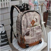 Wholesale Vintage Newspaper Print Girls School Bags Women Campus Bag Men Backpack New Design Boys Back Bag