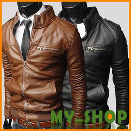 Wholesale The new Mens solid color PU leather fall and winter and Spring long sleeved jacket male leather motorcycle warm coat Slim England Tops