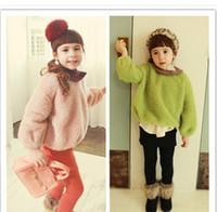 Wholesale girls pullover kids long sleeve woolen sweaters children warm tops colors outwear