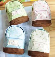 4colour american mini series - Y637 New Fresh garden flower series creative MINI schoolbag shape coin bag Multifunction coin purse Key bag Fashion wallets