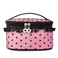 Wholesale Professional Cosmetic large dot lace cute new handbag large capacity portable storage bag