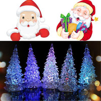 Wholesale New Cool Christmas Tree Acrylic Colorful Mini Changing LED Decoration Ligt HZC063