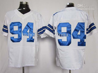 Men Short Cotton 2012 Elite American Football All Team 94 White Jerseys Rugby Jersey Authentic Mix Order Come with player team name