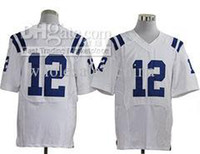 Men Short Cotton Football Jerseys 12 White All team Player Elite Jerseys American Jersey Mix Order Come with player team name
