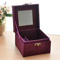 Red ,Rose, pink ,Purple jewelry mirror - 7537 European flannel dressing princess jewelry box wooden jewelry cassette lock Cosmetic box with mirror