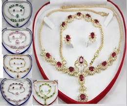 Romantic Silver Jewelry Sets Wedding Sets White Red crystal & Alloy Necklaces Earrings Bracelet, ring Sets 8 Colors Free choose