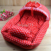 Wholesale Pet dog princess bed cat kennel with red color white dot SIZE CM