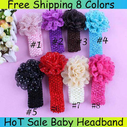 Baby Headbands Girl Dot Chiffon Flower hairbands Hair Accessories Hair Ornaments Kids Crochet Headbands Trial Order