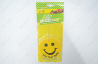 Best 50pcs lot Car perfume (car air freshener) (paper perfume) air freshener, a variety of shapes Smile shape GGG