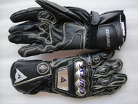 Wholesale new titanium alloy and carbon fiber dainese Long sections leather gloves