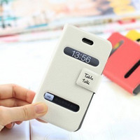 Cheap Table talk Window Cross leather Case For iphone 4 4S 4G iPhone 5 5G Taiga Pattern Wallet Flip PU Cover