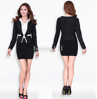 Cheap New 2013 Autumn Winter Fashion Novelty Women Skirt Suits Office Ladies Professional Outfit Business Sets Elegant Slim Black