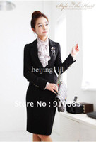 Women Dress Suit Polyester 2013 New Office Lady Formal Women Suits ( Coat + Skirt ) With Corsage Fashion Work Wear Business Sets Black Free shipping