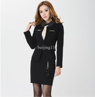Women Dress Suit Polyester Fashion spring and autumn for women's blazer suit plus size new 2013 slim formal female business jackets and skirts sets black