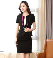Women Dress Suit Polyester 2013 new fashion women's skirt suit slim office ladies formal business sets summer short sleeve white black free shipping