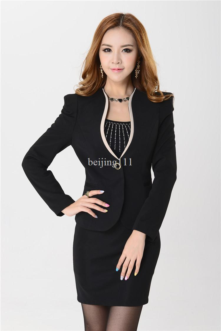 Original 2013 New Korea Womens Plaid Office Skirt Suit Women Formal Suits