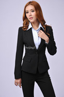 Women Dress Suit Corduroy Fashion new 2013 fall formal business sets for women pants suits ladies blazer winter elegant female black free shipping