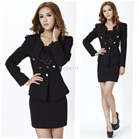Women Dress Suit Polyester Women's set 2013 Spring new long-sleeve formal fashion ol ladies skirt suits slim business sets blazer uniforms black