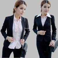 Women Dress Suit Corduroy 2013 work wear women suit ol formal black ladies pants suits trousers business career sets winter free shipping