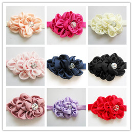 Baby Girl Headbands hairbands Hair Accessories For Photography Props Kids Fabric Satin Flower Headbands with Acryl diamond Christmas Gift