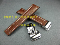 bentley mens watch - 24mm Deployment brown Leather Strap Buckle Set for Bentley Navitimer Mens Watch Men s Watches