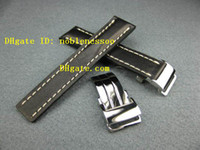 bentley leather - Luxury mm Deployment Black Leather Strap Buckle Set Band Clasp for Bentley Navitimer Mens Watch Men s Watches