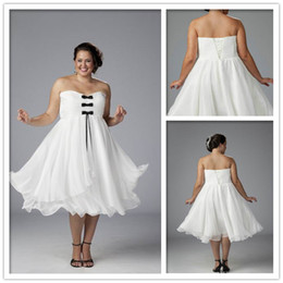 Wholesale Cheap Strapless A Line Bows Tea Length Ruched Chiffon White Plus Size Party dresses Custom Made